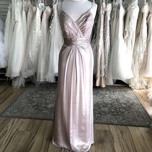 Metallic Champagne Long Formal Dress Alfred Angelo